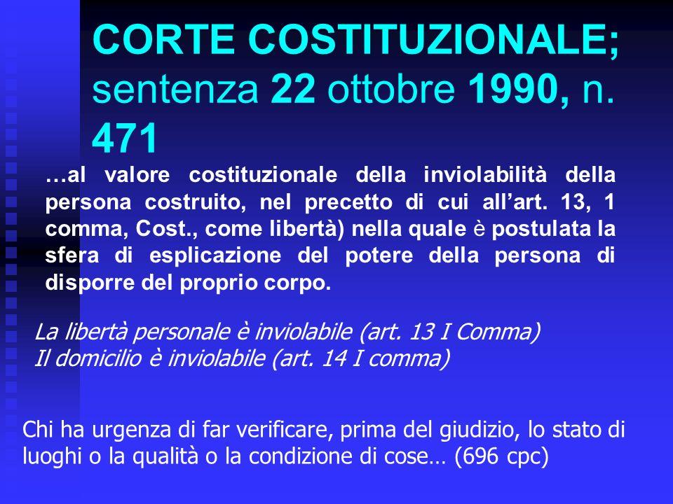 CORTE COSTITUZIONALE; sentenza 22 ottobre 1990, n.