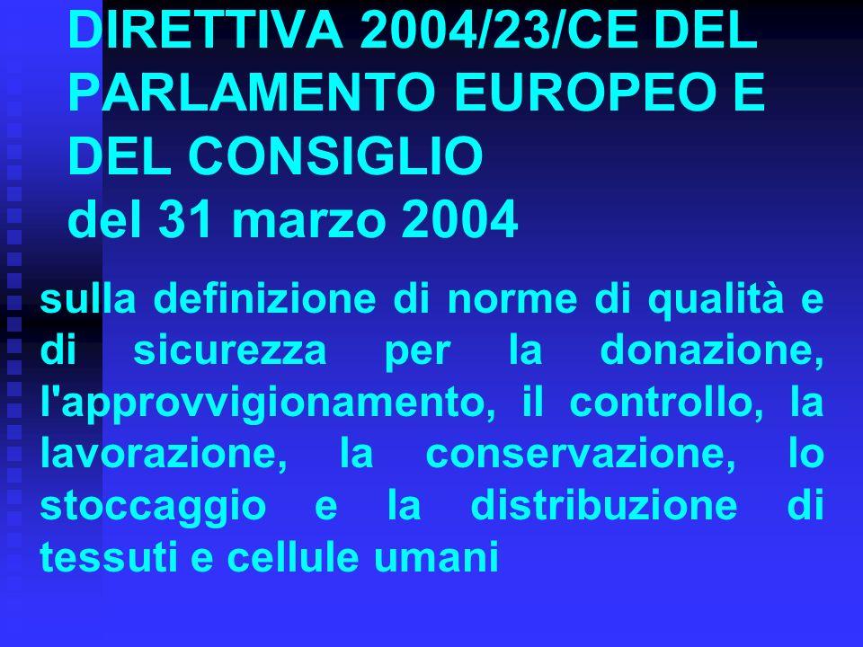 DIRETTIVA 2004/23/CE DEL PARLAMENTO EUROPEO E DEL CONSIGLIO del 31 marzo 2004 sulla definizione di norme di qualità e di sicurezza per la donazione, l approvvigionamento, il controllo, la lavorazione, la conservazione, lo stoccaggio e la distribuzione di tessuti e cellule umani