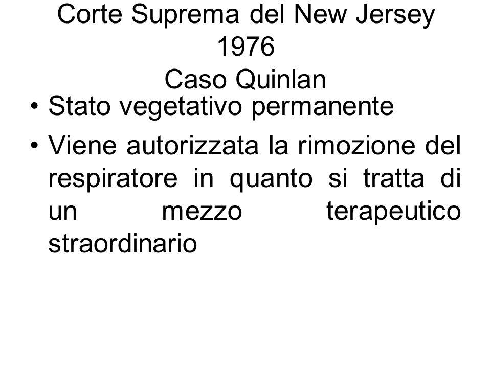Corte Suprema del New Jersey 1976 Caso Quinlan Stato vegetativo permanente Viene autorizzata la rimozione del respiratore in quanto si tratta di un mezzo terapeutico straordinario