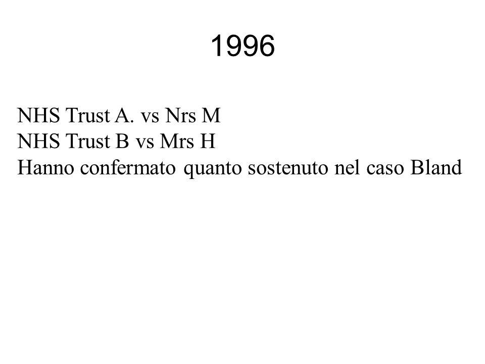 1996 NHS Trust A. vs Nrs M NHS Trust B vs Mrs H Hanno confermato quanto sostenuto nel caso Bland