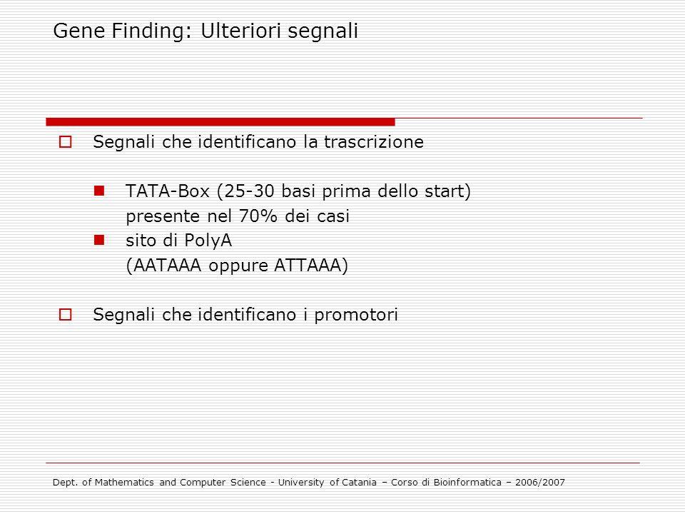 Segnali che identificano la trascrizione TATA-Box (25-30 basi prima dello start) presente nel 70% dei casi sito di PolyA (AATAAA oppure ATTAAA) Segnal