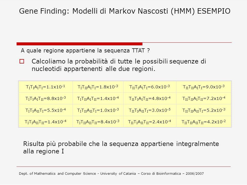 Calcoliamo la probabilità di tutte le possibili sequenze di nucleotidi appartenenti alle due regioni. T I T I A I T I =1.1x10 -1 T I T II A I T I =1.8