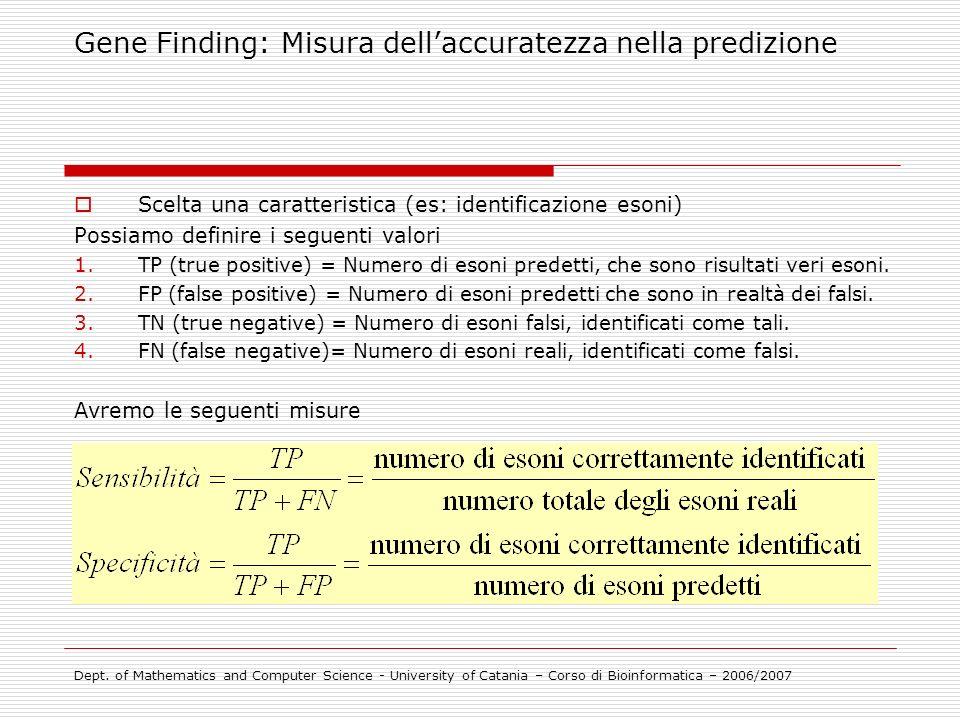 Scelta una caratteristica (es: identificazione esoni) Possiamo definire i seguenti valori 1.TP (true positive) = Numero di esoni predetti, che sono ri