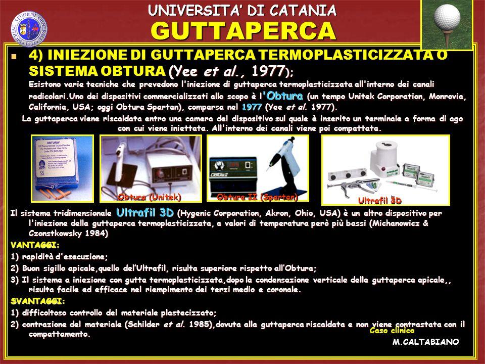 GUTTAPERCA 5) SISTEMI CON CARRIERS RIVESTITI DA GUTTAPERCA O TECNICA THERMAFIL (Ben Johnson,1978) VANTAGGI: VANTAGGI: a) è una tecnica semplice, rapida e scarsamente operatore-dipendente; a) è una tecnica semplice, rapida e scarsamente operatore-dipendente; b) prevede l utilizzo di guttaperca Thermafil, avente caratteristiche specifiche.