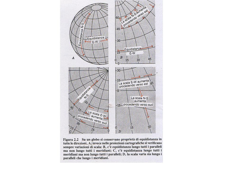Può essere mantenuta larea… oppure langolo di intersezione tra meridiani e paralleli.