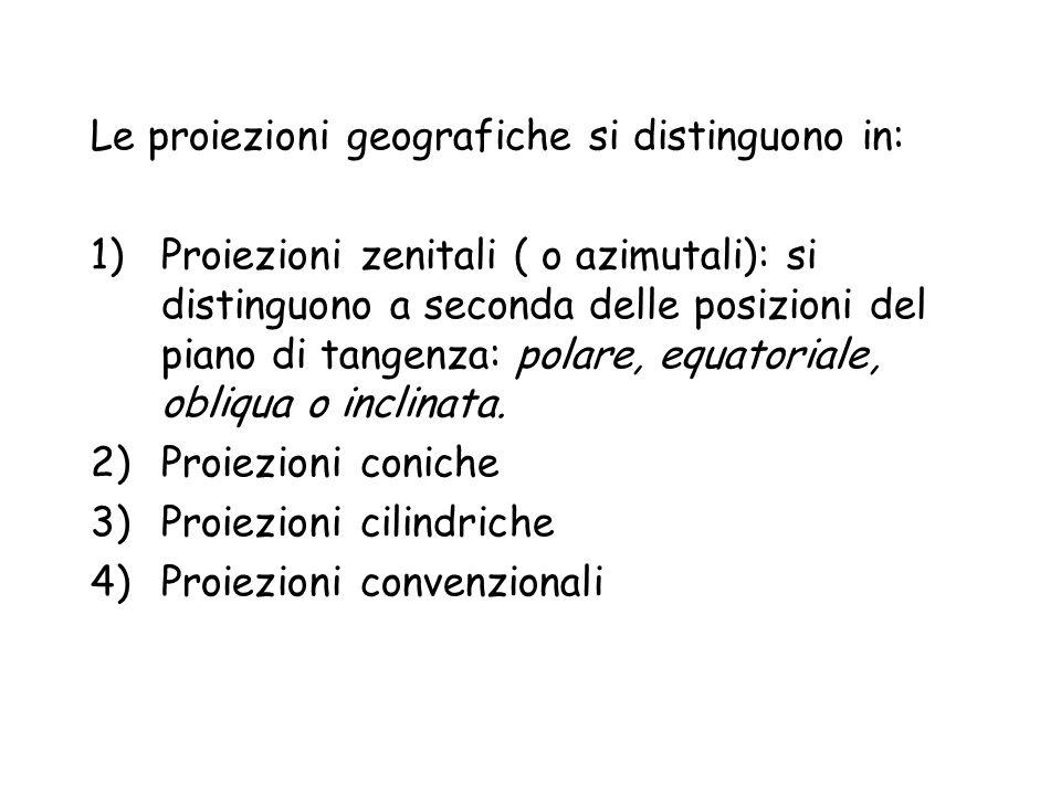 Proiezioni zenitali (azimutali) Comprendono tutti i tipi che possiedono un punto centrale di simmetria radiale.