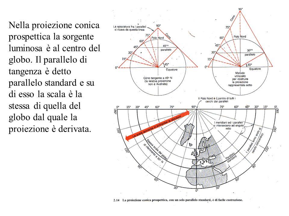 Nella proiezione conica prospettica la sorgente luminosa è al centro del globo. Il parallelo di tangenza è detto parallelo standard e su di esso la sc