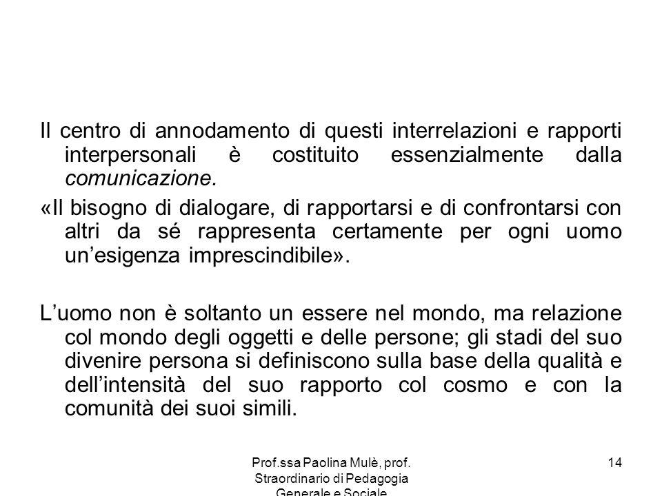Prof.ssa Paolina Mulè, prof. Straordinario di Pedagogia Generale e Sociale 14 Il centro di annodamento di questi interrelazioni e rapporti interperson