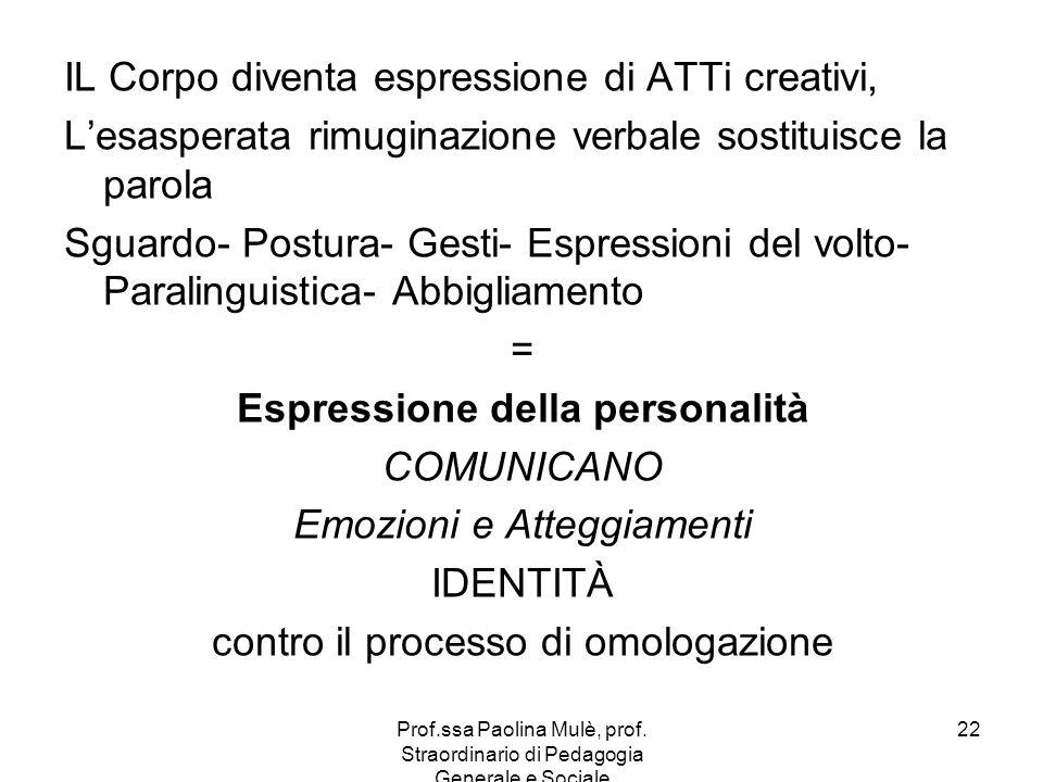 Prof.ssa Paolina Mulè, prof. Straordinario di Pedagogia Generale e Sociale 22 IL Corpo diventa espressione di ATTi creativi, Lesasperata rimuginazione