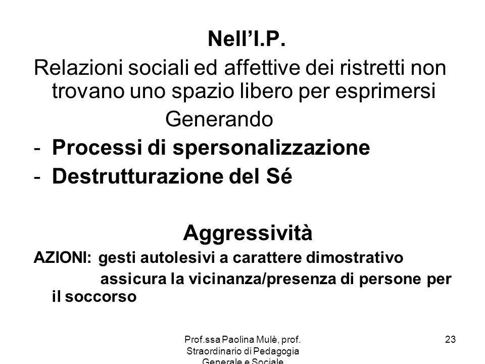 Prof.ssa Paolina Mulè, prof. Straordinario di Pedagogia Generale e Sociale 23 NellI.P. Relazioni sociali ed affettive dei ristretti non trovano uno sp