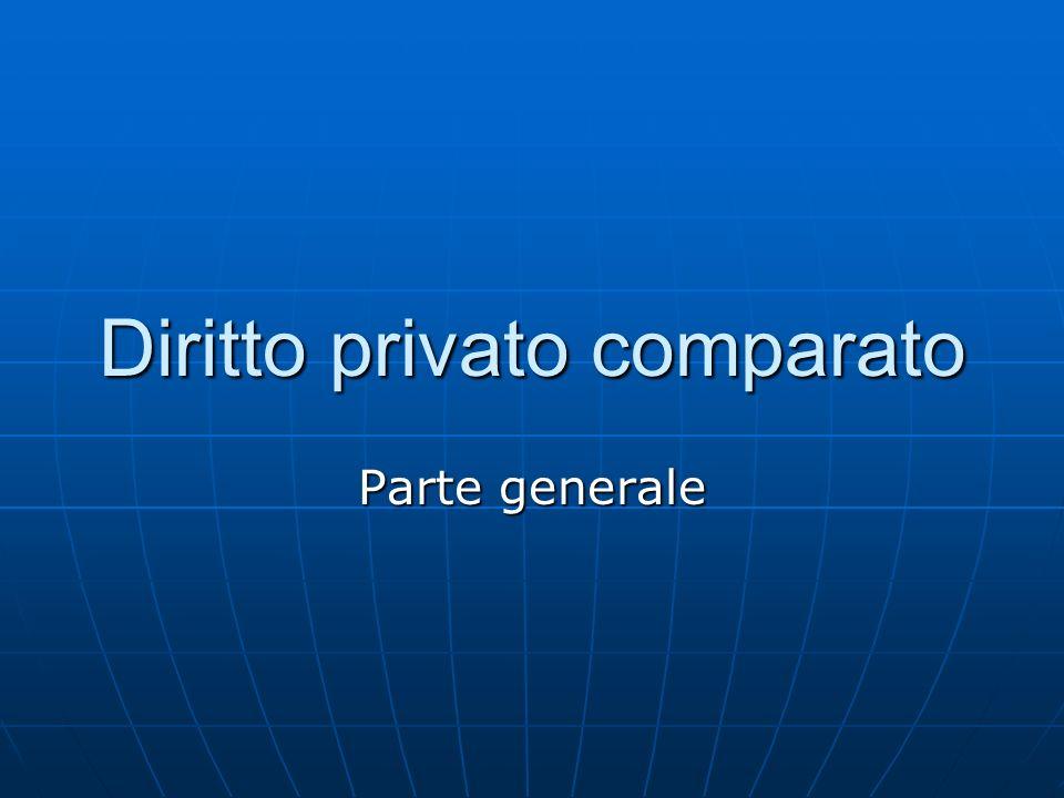 Diritto privato comparato Parte generale
