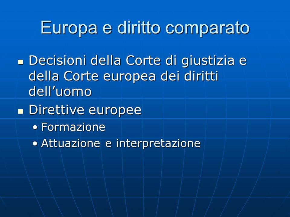 Europa e diritto comparato Decisioni della Corte di giustizia e della Corte europea dei diritti delluomo Decisioni della Corte di giustizia e della Co