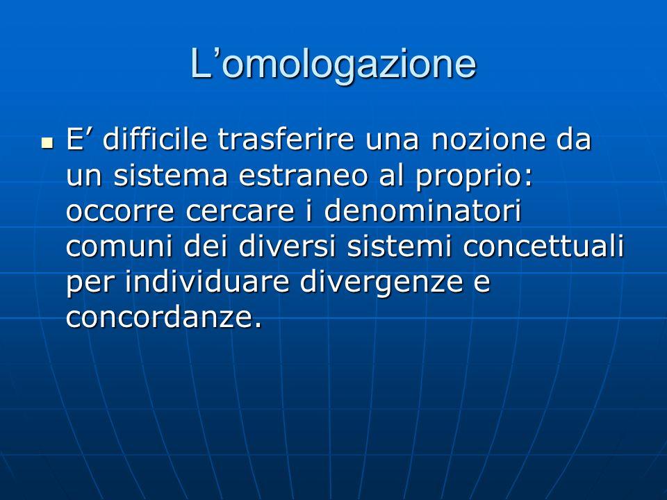 Lomologazione E difficile trasferire una nozione da un sistema estraneo al proprio: occorre cercare i denominatori comuni dei diversi sistemi concettu