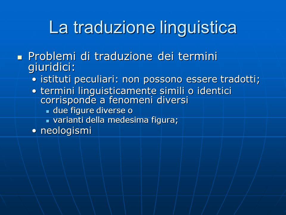 La traduzione linguistica Problemi di traduzione dei termini giuridici: Problemi di traduzione dei termini giuridici: istituti peculiari: non possono