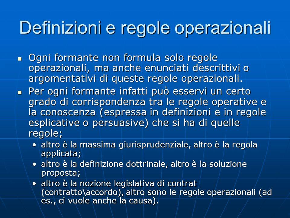 Definizioni e regole operazionali Ogni formante non formula solo regole operazionali, ma anche enunciati descrittivi o argomentativi di queste regole