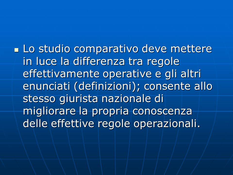 Lo studio comparativo deve mettere in luce la differenza tra regole effettivamente operative e gli altri enunciati (definizioni); consente allo stesso