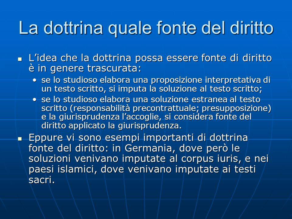 La dottrina quale fonte del diritto Lidea che la dottrina possa essere fonte di diritto è in genere trascurata: Lidea che la dottrina possa essere fon