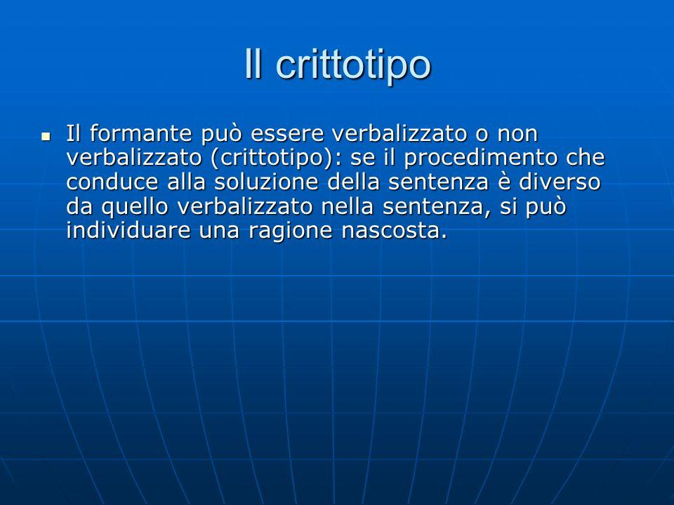 Il crittotipo Il formante può essere verbalizzato o non verbalizzato (crittotipo): se il procedimento che conduce alla soluzione della sentenza è dive