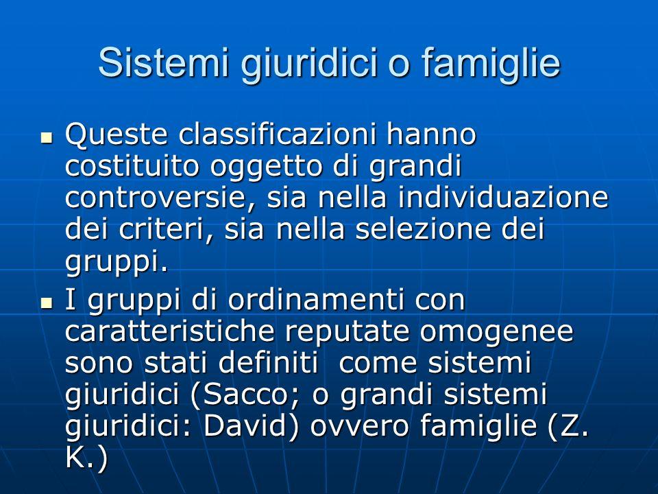 Sistemi giuridici o famiglie Queste classificazioni hanno costituito oggetto di grandi controversie, sia nella individuazione dei criteri, sia nella s