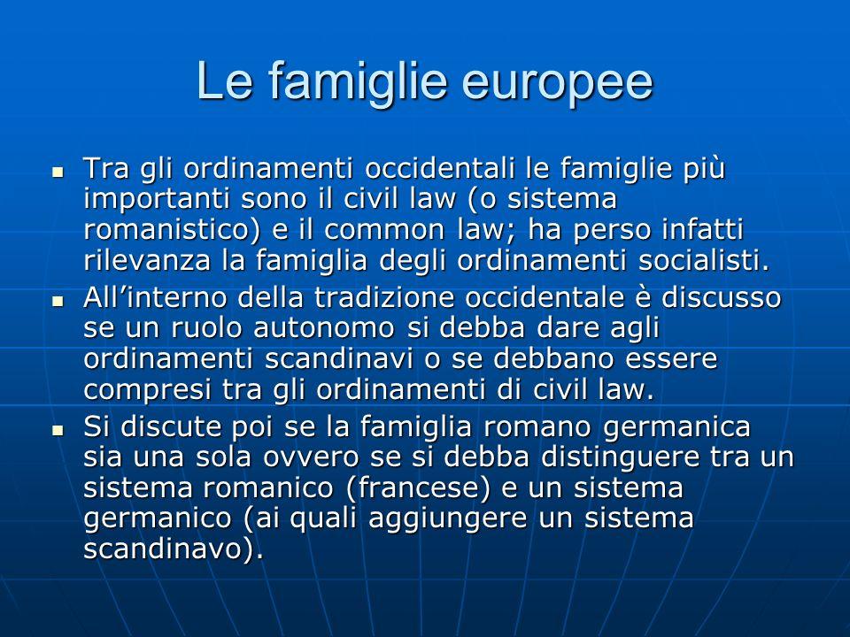 Le famiglie europee Tra gli ordinamenti occidentali le famiglie più importanti sono il civil law (o sistema romanistico) e il common law; ha perso inf