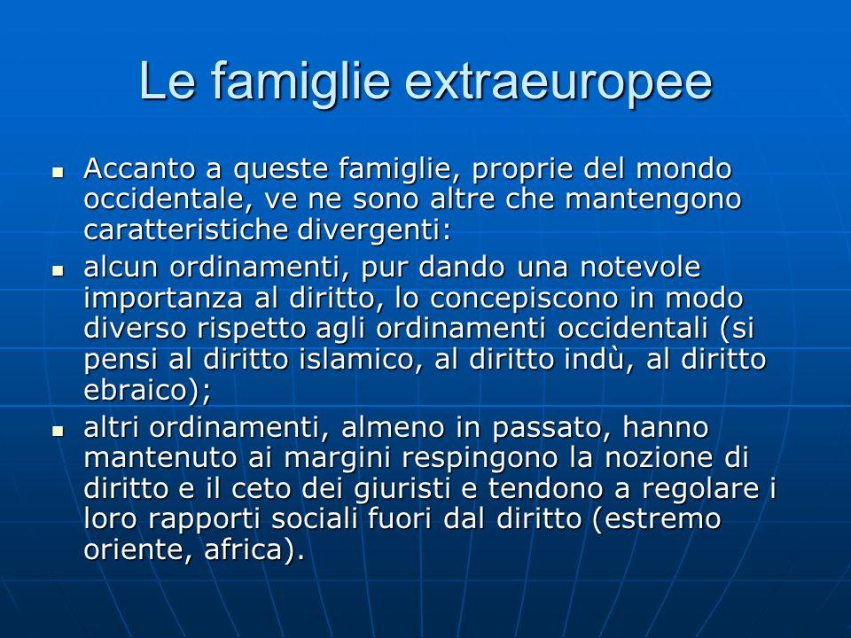 Le famiglie extraeuropee Accanto a queste famiglie, proprie del mondo occidentale, ve ne sono altre che mantengono caratteristiche divergenti: Accanto