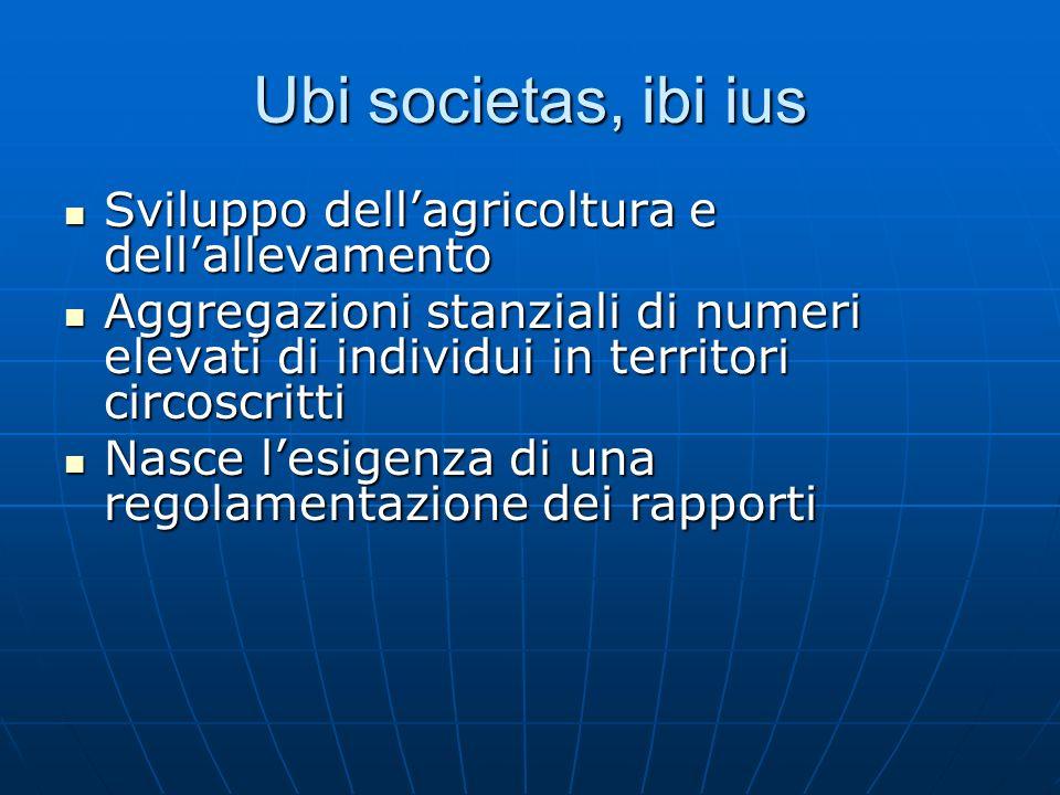 Ubi societas, ibi ius Sviluppo dellagricoltura e dellallevamento Sviluppo dellagricoltura e dellallevamento Aggregazioni stanziali di numeri elevati d