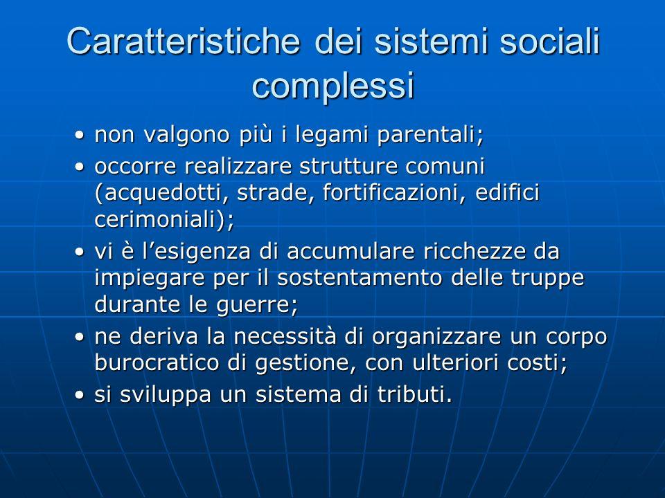 Caratteristiche dei sistemi sociali complessi non valgono più i legami parentali;non valgono più i legami parentali; occorre realizzare strutture comu