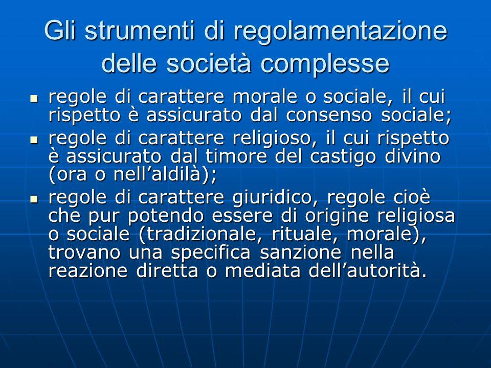 Gli strumenti di regolamentazione delle società complesse regole di carattere morale o sociale, il cui rispetto è assicurato dal consenso sociale; reg