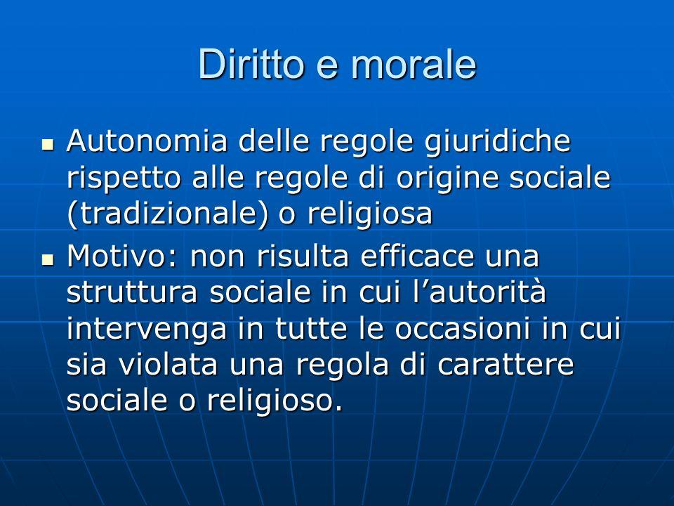 Diritto e morale Autonomia delle regole giuridiche rispetto alle regole di origine sociale (tradizionale) o religiosa Autonomia delle regole giuridich