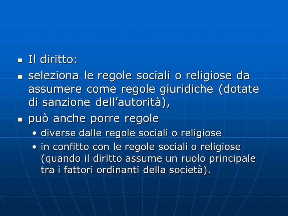 Il diritto: Il diritto: seleziona le regole sociali o religiose da assumere come regole giuridiche (dotate di sanzione dellautorità), seleziona le reg