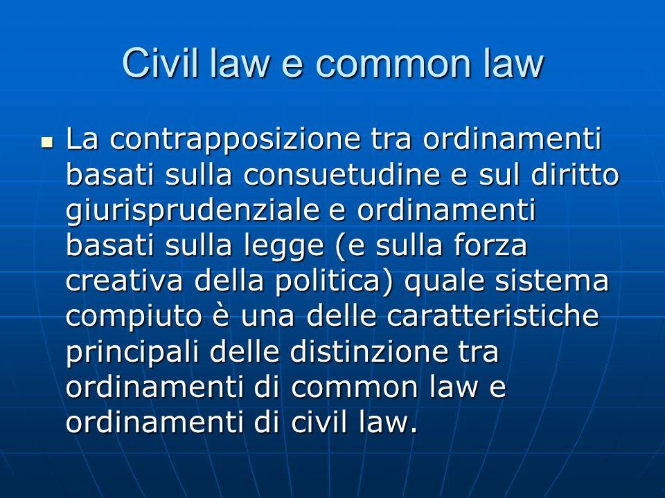 Civil law e common law La contrapposizione tra ordinamenti basati sulla consuetudine e sul diritto giurisprudenziale e ordinamenti basati sulla legge