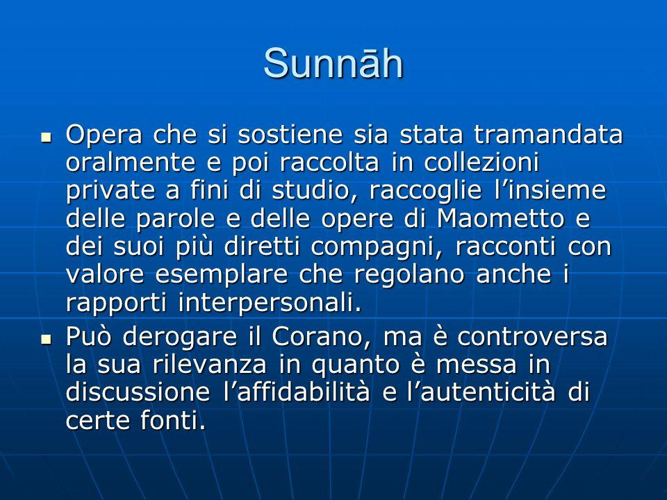 Sunnāh Opera che si sostiene sia stata tramandata oralmente e poi raccolta in collezioni private a fini di studio, raccoglie linsieme delle parole e d