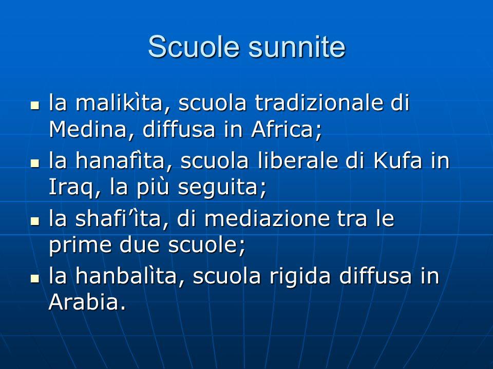 Scuole sunnite la malikìta, scuola tradizionale di Medina, diffusa in Africa; la malikìta, scuola tradizionale di Medina, diffusa in Africa; la hanafì