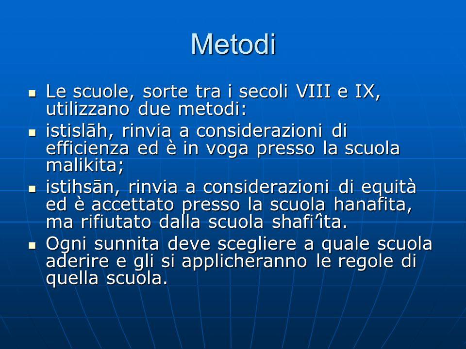 Metodi Le scuole, sorte tra i secoli VIII e IX, utilizzano due metodi: Le scuole, sorte tra i secoli VIII e IX, utilizzano due metodi: istislāh, rinvi