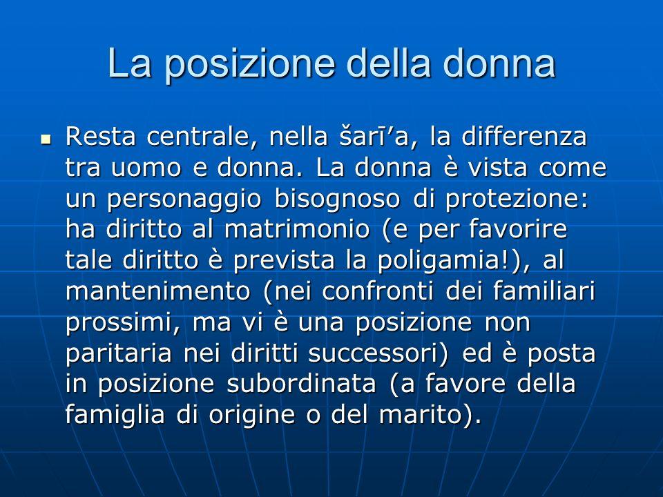 La posizione della donna Resta centrale, nella šarīa, la differenza tra uomo e donna. La donna è vista come un personaggio bisognoso di protezione: ha