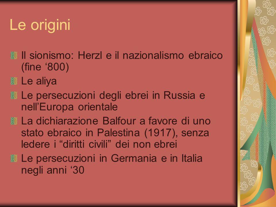 Le origini Il sionismo: Herzl e il nazionalismo ebraico (fine 800) Le aliya Le persecuzioni degli ebrei in Russia e nellEuropa orientale La dichiarazi