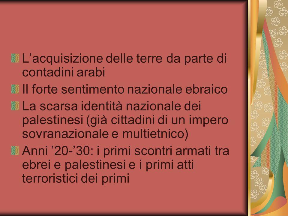 Lacquisizione delle terre da parte di contadini arabi Il forte sentimento nazionale ebraico La scarsa identità nazionale dei palestinesi (già cittadin