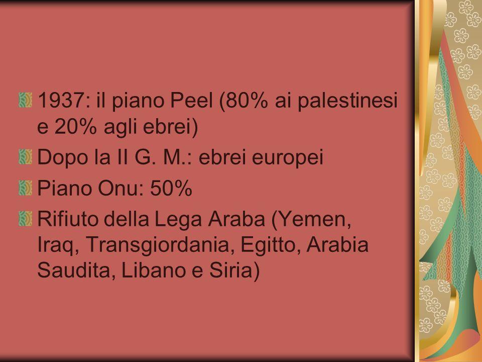 1937: il piano Peel (80% ai palestinesi e 20% agli ebrei) Dopo la II G. M.: ebrei europei Piano Onu: 50% Rifiuto della Lega Araba (Yemen, Iraq, Transg
