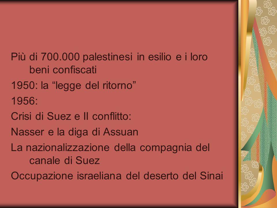 Più di 700.000 palestinesi in esilio e i loro beni confiscati 1950: la legge del ritorno 1956: Crisi di Suez e II conflitto: Nasser e la diga di Assua