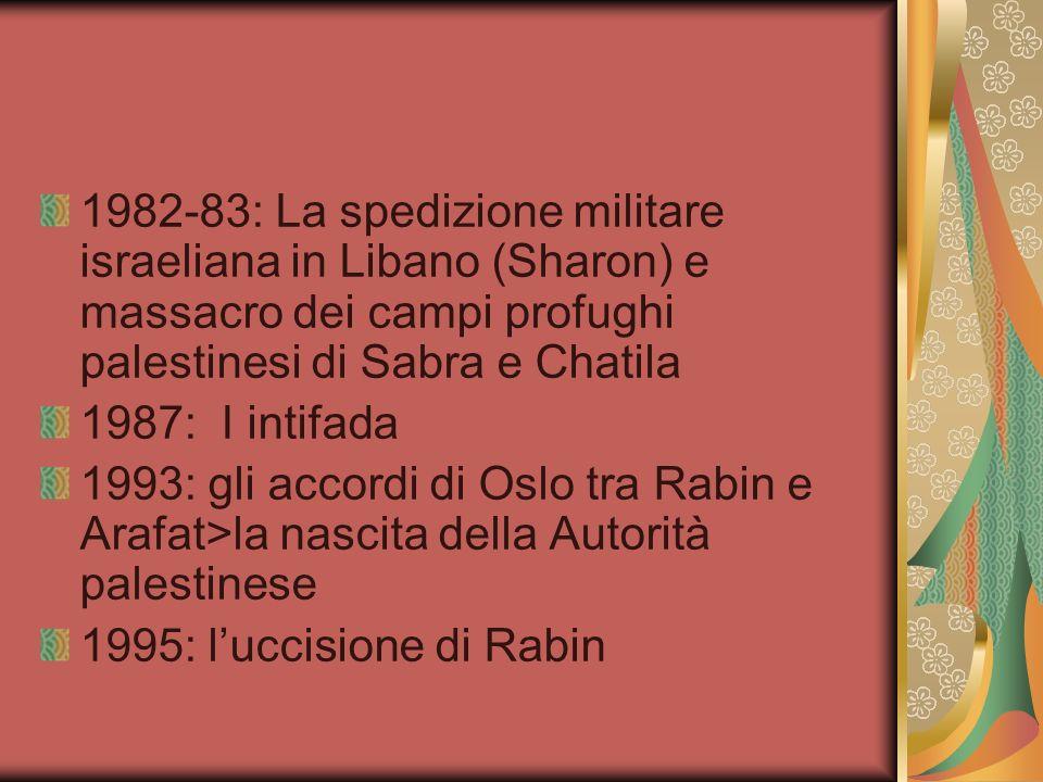1982-83: La spedizione militare israeliana in Libano (Sharon) e massacro dei campi profughi palestinesi di Sabra e Chatila 1987: I intifada 1993: gli