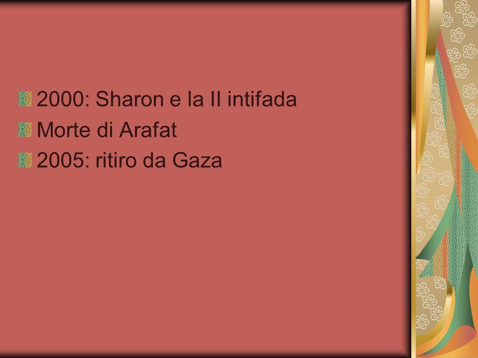 2000: Sharon e la II intifada Morte di Arafat 2005: ritiro da Gaza