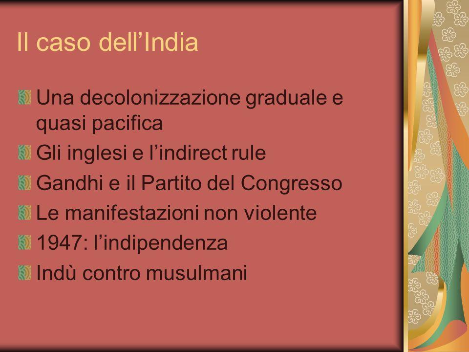 Il caso dellIndia Una decolonizzazione graduale e quasi pacifica Gli inglesi e lindirect rule Gandhi e il Partito del Congresso Le manifestazioni non