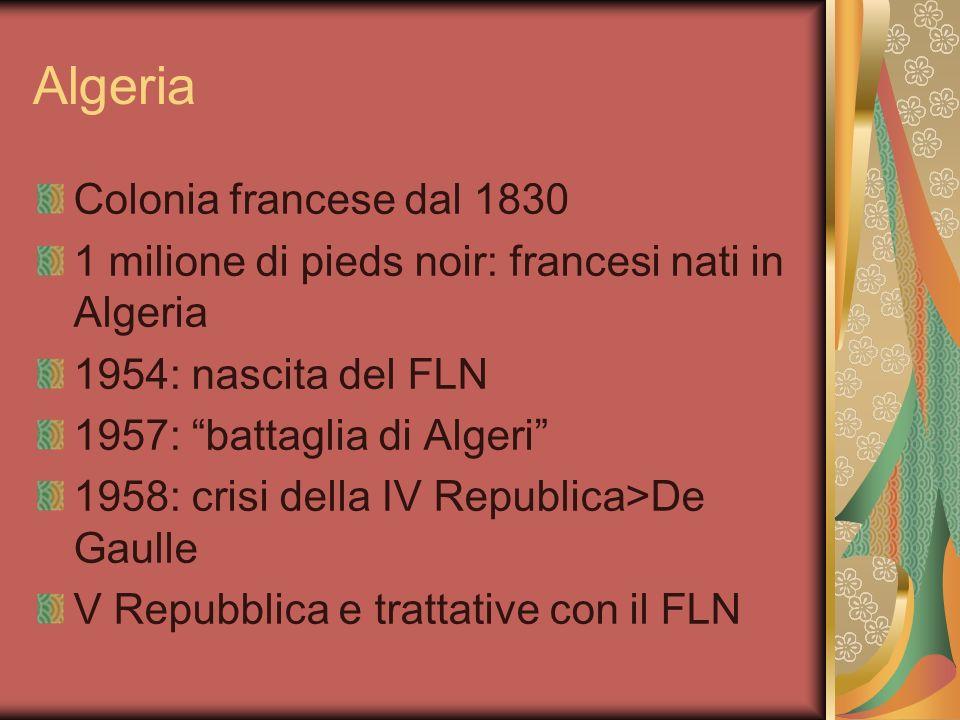 Algeria Colonia francese dal 1830 1 milione di pieds noir: francesi nati in Algeria 1954: nascita del FLN 1957: battaglia di Algeri 1958: crisi della