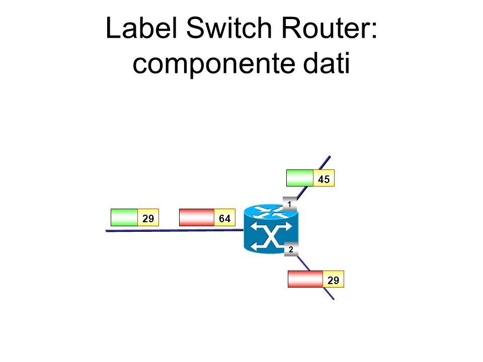 Label Switch Router: componente di controllo Criteri per la definizione delle associazioni tra etichette e FEC (label bindings) (label bindings) Proto