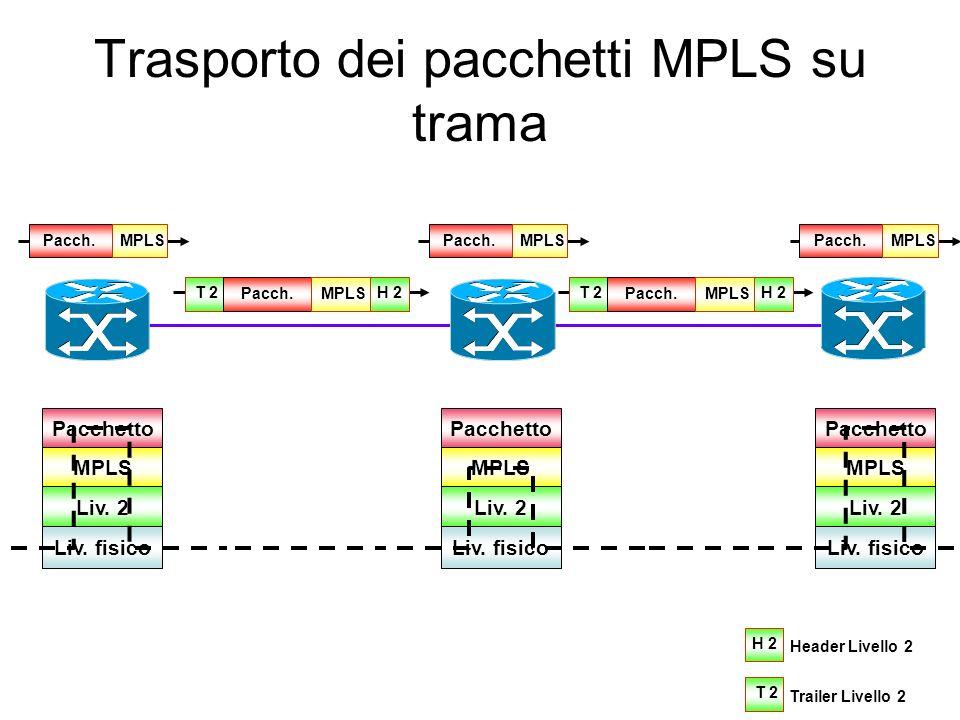 Etichette Pacchetto MPLS consegnato al livello 2 (Eth., ATM, F.R., PPP, ecc.) 1 Livello 1... Pacchetto/Trama 2 Livello 2 m Livello m LabelExpTTLS 8320