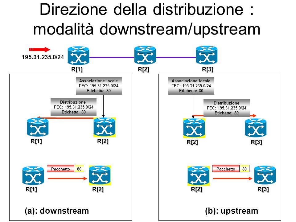 Modalità di distribuzione e mantenimento delle associazioni Diverse modalità di distribuzione in accordo a: Direzione della distribuzione A quali LSR