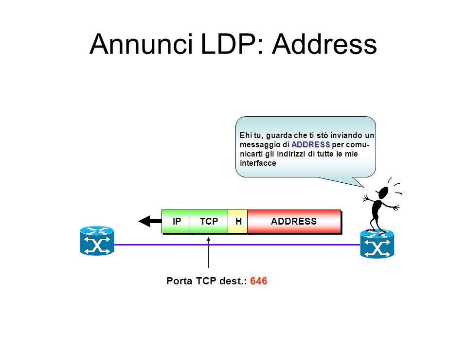 Sessioni LDP: KeepAlive LSR 1 LSR 2 LDP-PDU/Keepalive Keepalive Timer HoldTimer= K * KeepAlive Timer K=3 Allo scadere di HoldTimer LSR chiude la conne