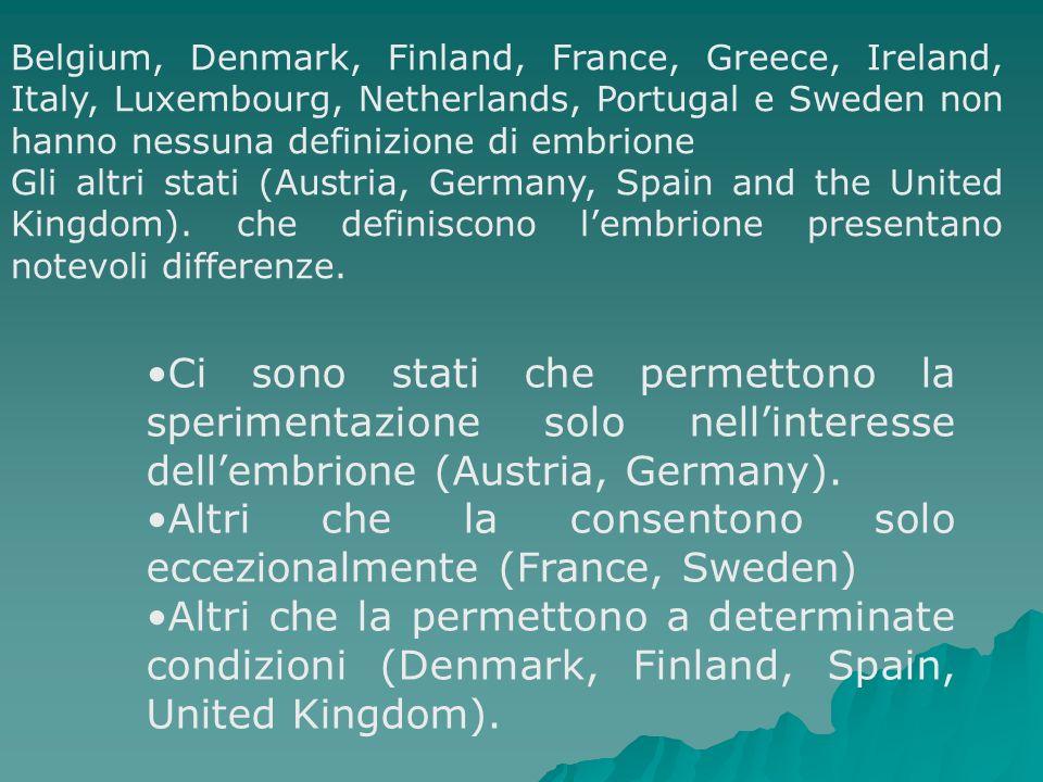 Belgium, Denmark, Finland, France, Greece, Ireland, Italy, Luxembourg, Netherlands, Portugal e Sweden non hanno nessuna definizione di embrione Gli al