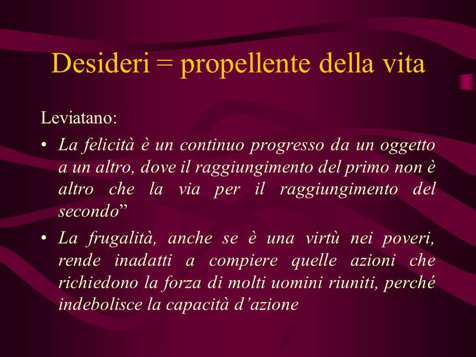 Desideri = propellente della vita Leviatano: La felicità è un continuo progresso da un oggetto a un altro, dove il raggiungimento del primo non è altr