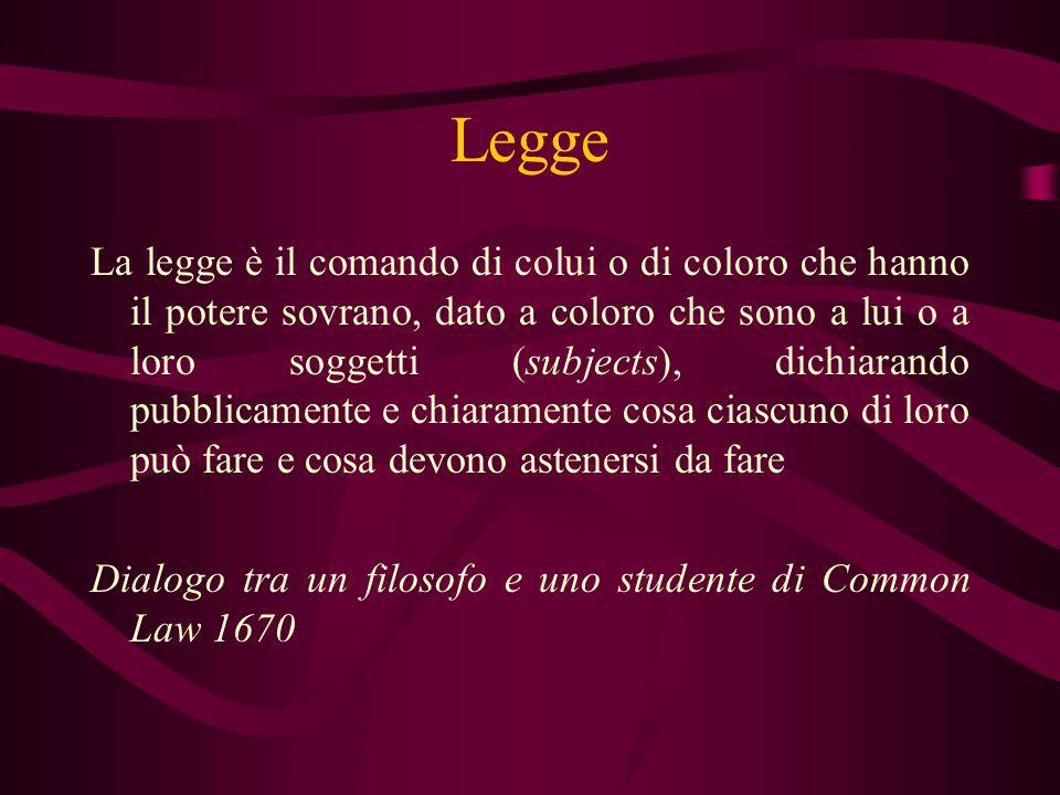 Legge La legge è il comando di colui o di coloro che hanno il potere sovrano, dato a coloro che sono a lui o a loro soggetti (subjects), dichiarando p